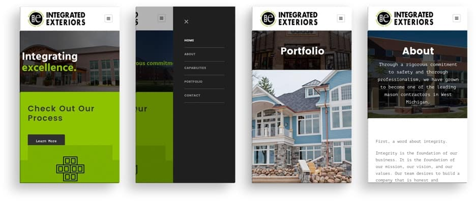 Integrated Exteriors mobile site preview