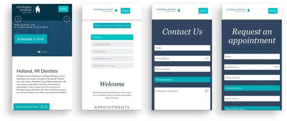 Michigan Avenue Dentistry mobile site preview